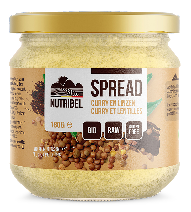 Curry-linzen spread bio & glutenvrij 180g